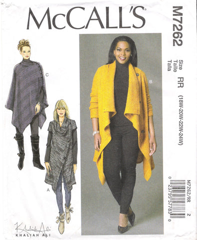 McCall's 7262 Misses'/Women's Sweater Coat and Poncho - RR (18W-20W-22W-24W) - Smiths Depot Sewing Pattern Superstore