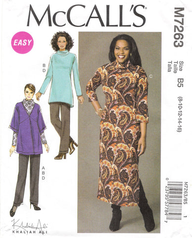 McCall's 7263 Misses'/Women's Cardigan, Tunic, Dress and Pants - B5 (8-10-12-14-16) - Smiths Depot Sewing Pattern Superstore