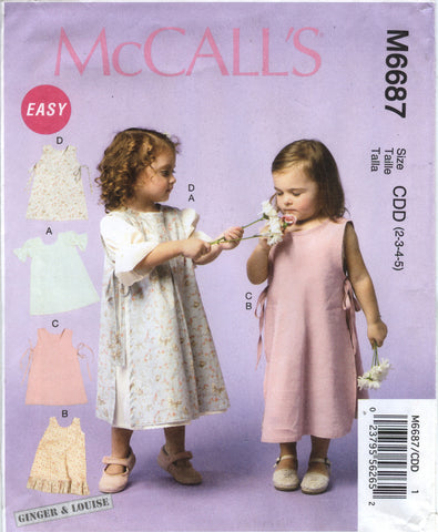 McCall's 6687 Children's/Girls' Dresses and Pinafores - CDD (2-3-4-5) - Smiths Depot Sewing Pattern Superstore  - 1
