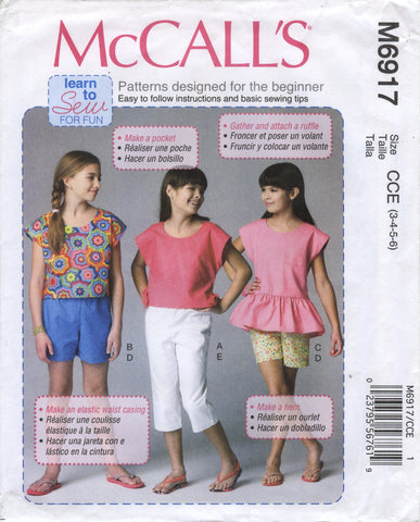 McCall's 6917 Children's/Girls' Tops, Shorts and Pants - CCE (3-4-5-6) - Smiths Depot Sewing Pattern Superstore