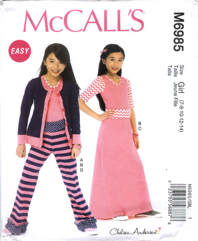 McCall's 6985 Girls'/Girls' Plus Cardigan, Top, Skirt and Pants - Girl (7-8-10-12-14) - Smiths Depot Sewing Pattern Superstore