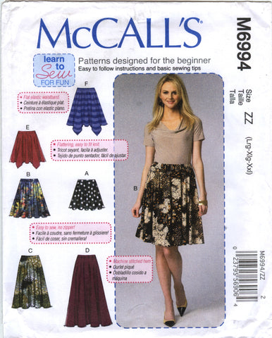 McCall's 6994 Misses' Skirts - ZZ (16-18-20-22-24-26) - Smiths Depot Sewing Pattern Superstore
