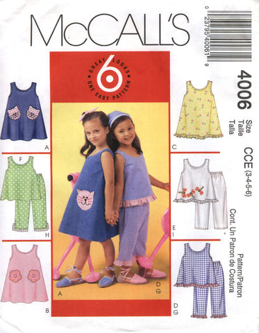 McCall's 4006 Children's/Girls' Dresses, Tops and Pants - CCE (3-4-5-6) - Smiths Depot Sewing Pattern Superstore