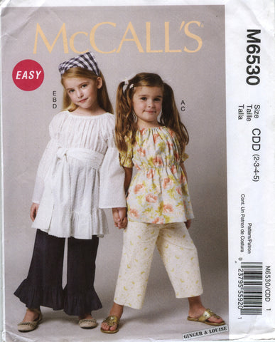McCall's 6530 Children's/Girls' Top, Tunic, Belt, Pants in Two Lengths and Kerchief - CDD (2-3-4-5) - Smiths Depot Sewing Pattern Superstore