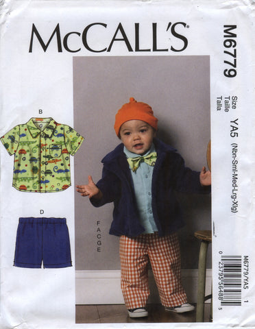 McCall's 6779 Infants' Jacket, Shirts, Shorts, Pants, Hat and Bow Tie -  - Smiths Depot Sewing Pattern Superstore
