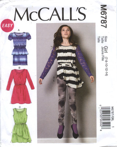 McCall's 6787 Girls'/Girls' Plus Dresses, Tunic, Belt and Leggings - Girl (7-8-10-12-14) - Smiths Depot Sewing Pattern Superstore  - 1