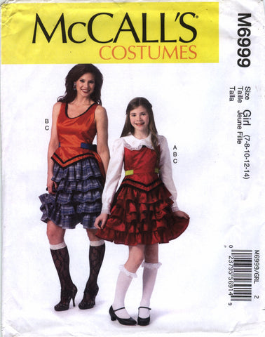 McCall's 6999 Misses'/Girls' Costumes - Girl (7-8-10-12-14) - Smiths Depot Sewing Pattern Superstore  - 1