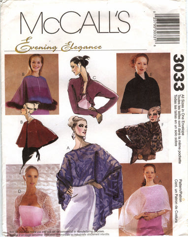 McCall's 3033 Misses' Evening Cover-Ups -  - Smiths Depot Sewing Pattern Superstore