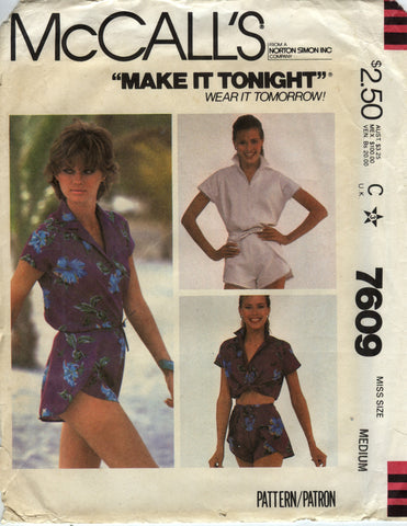 McCall's 7609 Misses' Shirts and Shorts - C (6-8-10-12-14-16) - Smiths Depot Sewing Pattern Superstore