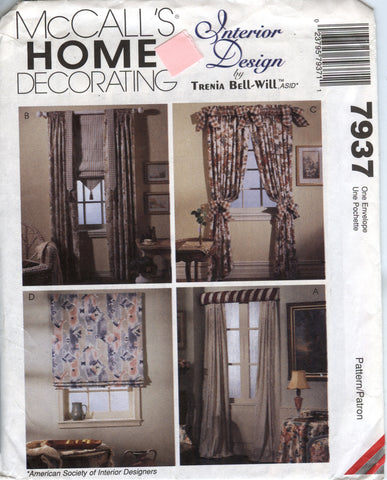 McCall's 7937 Window Treatments -  - Smiths Depot Sewing Pattern Superstore