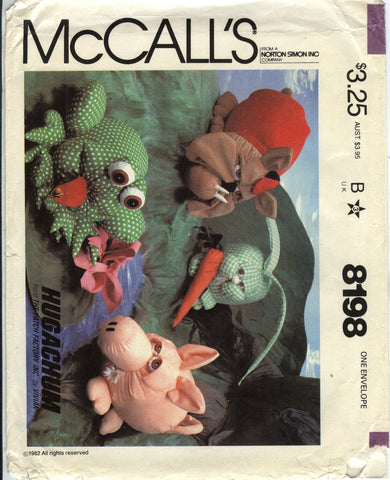 McCall's 8198 Hugachum Plush Animal Pack -  - Smiths Depot Sewing Pattern Superstore