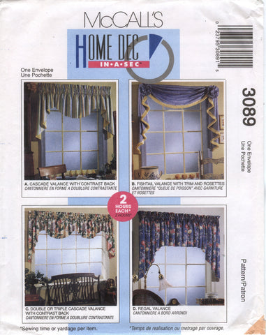 McCall's 3089 Window Treatments -  - Smiths Depot Sewing Pattern Superstore