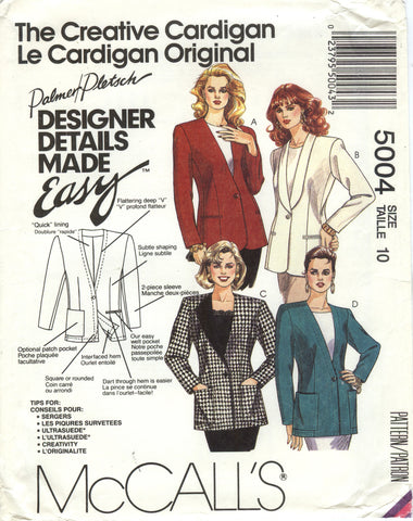 McCall's 5004 Misses' Lined Cardigan - (10) - Smiths Depot Sewing Pattern Superstore