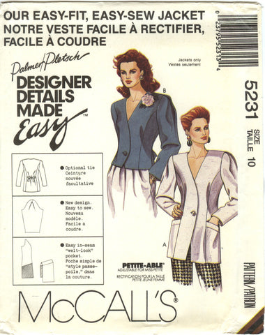 McCall's 5231 Misses' Lined Jacket in Two Lengths - (10) - Smiths Depot Sewing Pattern Superstore