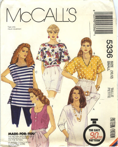 McCall's 5336 Misses' Tops and Tank Top - (10-12) - Smiths Depot Sewing Pattern Superstore
