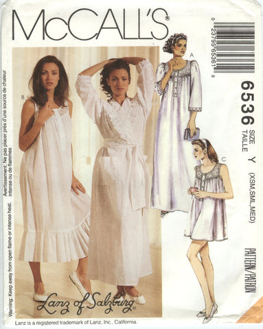 McCall's 6536 Misses' Robe with Tie-Belt and Nightgowns Sleepwear Pajamas - Y (4-6-8-10-12-14) - Smiths Depot Sewing Pattern Superstore