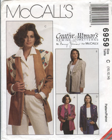McCall's 6959 Misses' Unlined Jacket - C (10-12-14) - Smiths Depot Sewing Pattern Superstore