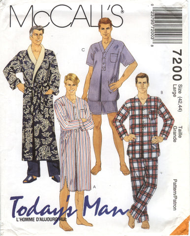 McCall's 7200 Men's Robe and Tie Belt, Nightshirt and Pajamas Sleepwear - Large (42-44) - Smiths Depot Sewing Pattern Superstore