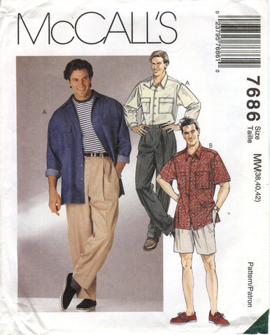 McCall's 7686 Men's Shirt and Pants or Shorts - MW (38-40-42) - Smiths Depot Sewing Pattern Superstore