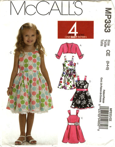 McCall's 0333 Children's/Girls' Shrug, Lined Dresses and Sash - CE (3-4-5) - Smiths Depot Sewing Pattern Superstore