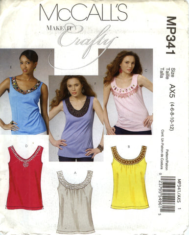 McCall's 0341 Misses'/Miss Petite Tops - AX5 (4-6-8-10-12) - Smiths Depot Sewing Pattern Superstore