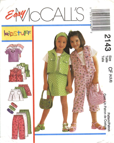 McCall's 2143 Children's/Girls' Top, Vest, Skort, Pants and Headband - CF (4-5-6) - Smiths Depot Sewing Pattern Superstore
