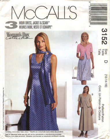 McCall's 3152 Misses'/Miss Petite Dress in Two Lengths, Unlined Jacket - D (12-14-16) - Smiths Depot Sewing Pattern Superstore