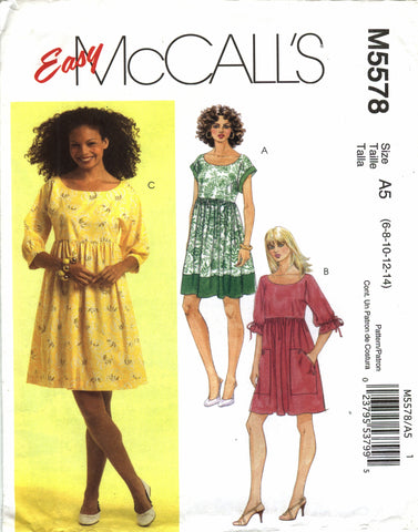 McCall's 5578 Misses' Dresses - A5 (6-8-10-12-14) - Smiths Depot Sewing Pattern Superstore