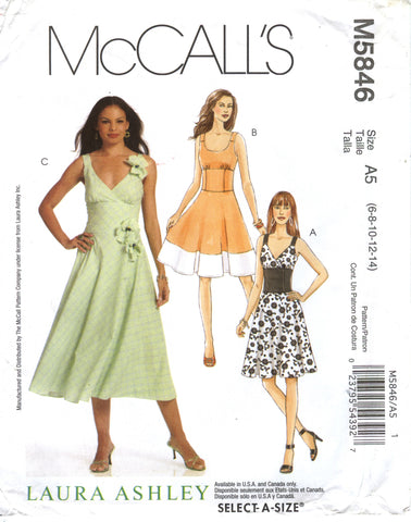 McCall's 5846 Misses' Dresses in Two Lengths - A5 (6-8-10-12-14) - Smiths Depot Sewing Pattern Superstore