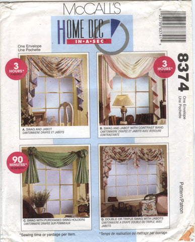 McCall's 8374 Window Treatments -  - Smiths Depot Sewing Pattern Superstore