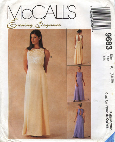 McCall's 9683 Misses' Lined Gown - A (6-8-10) - Smiths Depot Sewing Pattern Superstore