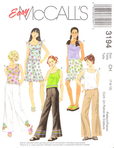 McCall's 3194 Girls' Tops, Pants and Skirt