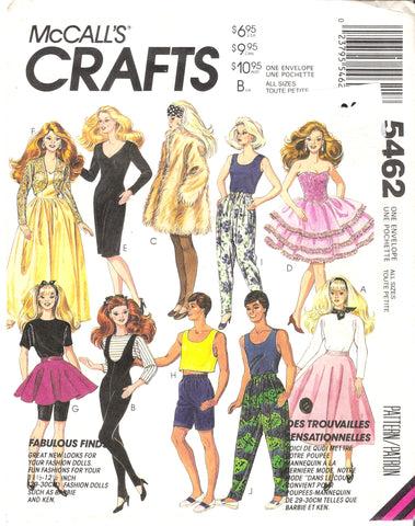 McCall's 5462 Fabulous Finds Fashion Female and Male Dolls' Clothes