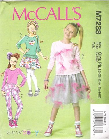 McCall's 7238 Girls'/Girls' Plus Tops, Skirts and Pants