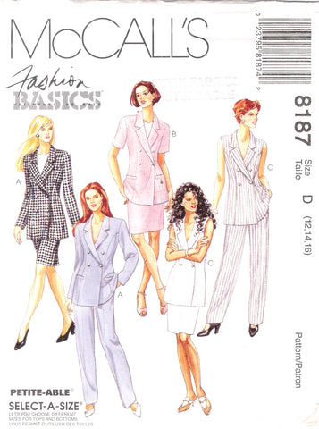 McCall's 8187 Misses' Lined Jacket, Skirt and Pants