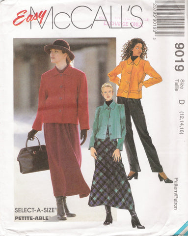 McCall's 9019 Misses' Unlined Jacket, Pull-On Pants and Skirt