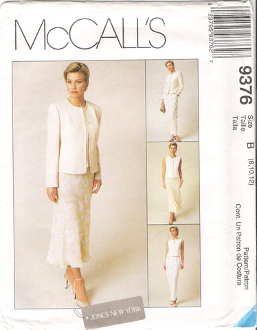 McCall's 9376 Misses' Lined Jacket, Lined Vest, Pants and Bias Skirt