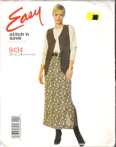 McCall's 9434 Misses' Unlined Vest and Pull-On Skirt