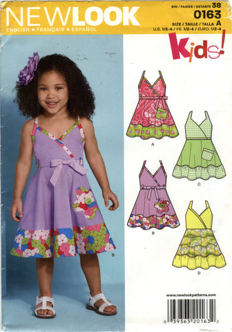 New Look 0163 Toddlers' Five Sizes in One - A (½-1-2-3-4) - Smiths Depot Sewing Pattern Superstore