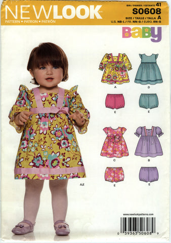 New Look 0608 Babies Rompers and Panties Four Sizes in One - A (NB-L) - Smiths Depot Sewing Pattern Superstore