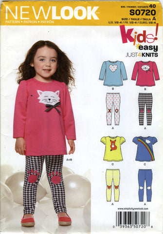 New Look 0720 Toddlers' Top and Pants Five Sizes in One - A (½-1-2-3-4) - Smiths Depot Sewing Pattern Superstore
