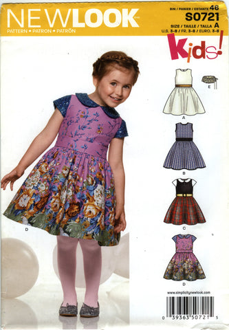 New Look 0721 Childrens' Dress Six Sizes in One - A (3-4-5-6-7-8) - Smiths Depot Sewing Pattern Superstore