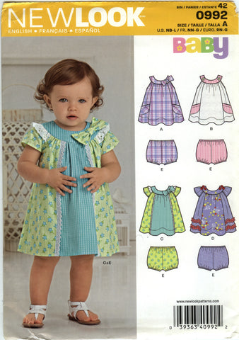 New Look 0992 Babies' Dress, Romper and Panties Four Sizes in One - A (NB-L) - Smiths Depot Sewing Pattern Superstore