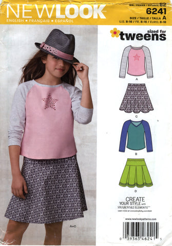New Look 6241 Juniors'/Girls' Top and Skirt Five Sizes in One - A (8-10-12-14-16) - Smiths Depot Sewing Pattern Superstore