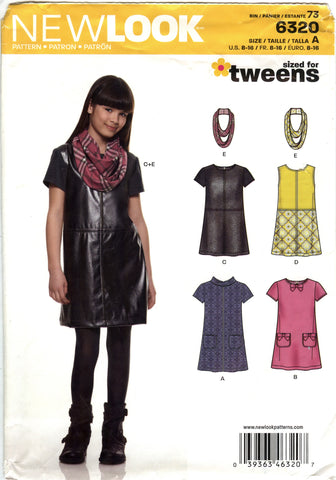 New Look 6320 Girls' Dress and Scarf Five Sizes in One - A (8-10-12-14-16) - Smiths Depot Sewing Pattern Superstore