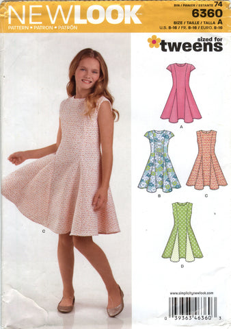 New Look 6360 Girls' Dress Five Sizes in One - A (8-10-12-14-16) - Smiths Depot Sewing Pattern Superstore
