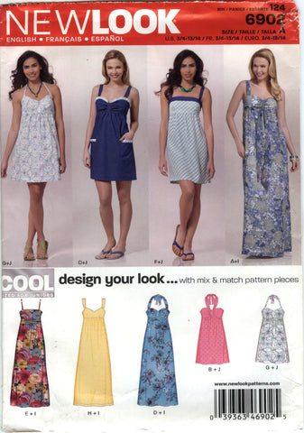 New Look 6902 Juniors' Dress Six Sizes in One - A (3-4-5-6-7-8-9-10-11-12-13-14) - Smiths Depot Sewing Pattern Superstore