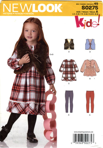New Look 0275 Children Top, Pants, Dress and Vest Six Sizes in One - A (3-4-5-6-7-8) - Smiths Depot Sewing Pattern Superstore