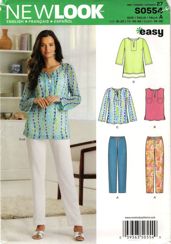 New Look 0554 Misses' Top and Pants Seven Sizes in One - A (10-12-14-16-18-20-22) - Smiths Depot Sewing Pattern Superstore