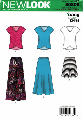 New Look 0809 Misses' Top and Skirt Five Sizes in One - A (6-8-10-12-14-16-18-20-22-24) - Smiths Depot Sewing Pattern Superstore